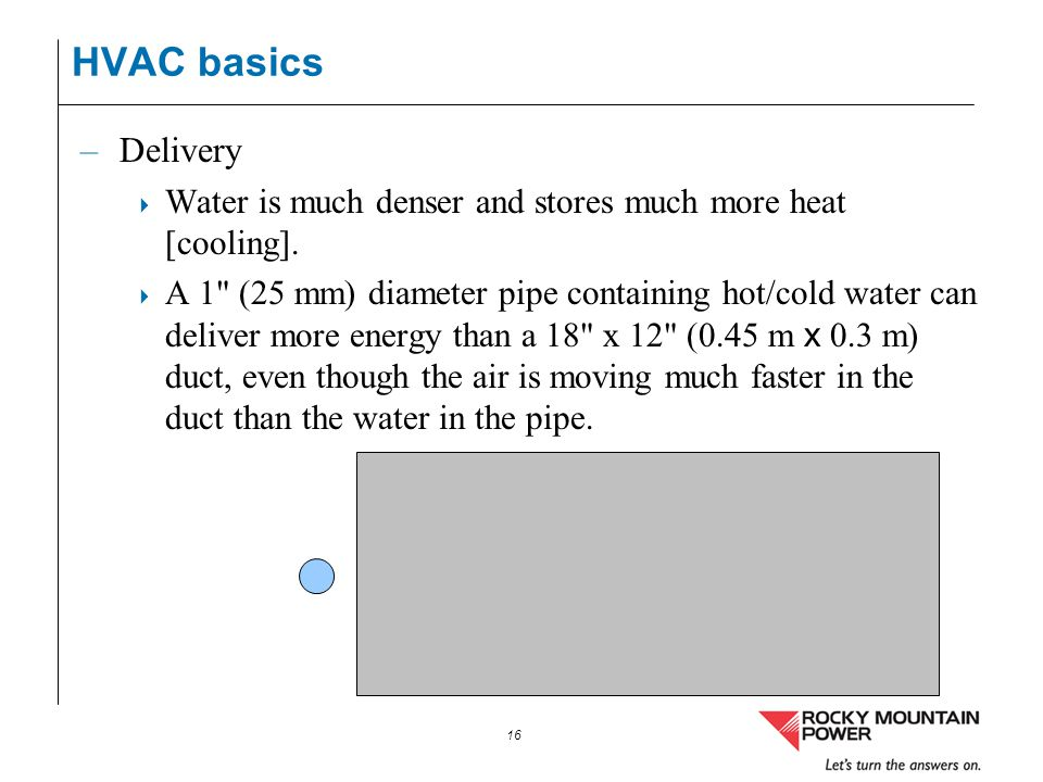 HVAC basics Delivery. Water is much denser and stores much more heat [cooling].
